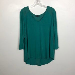Papermoon Green High Low 3/4 Sleeve Blouse